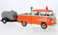 VW T1 - double cabin (orange / beige) with tank trailer (gray)