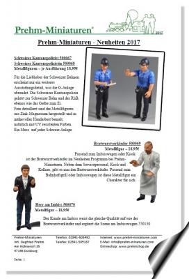 Prehm-Miniaturen - Neuheitenblatt 2017