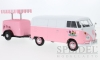 VW T1 box van ice cream with refrigerated trailer, pink-white